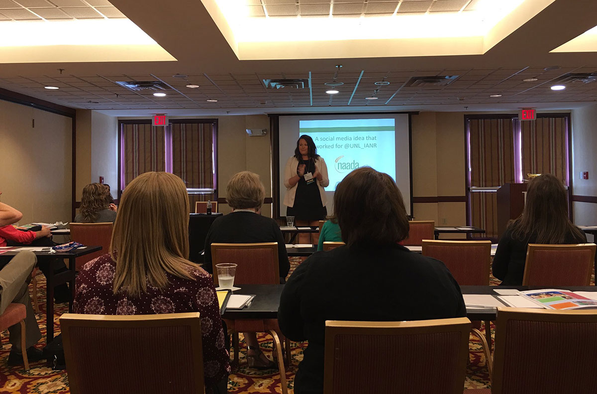 IANR Media Specialist Haley Steinkuhler presenting at the National Agricultural Alumni and Development Association(NAADA) annual conference