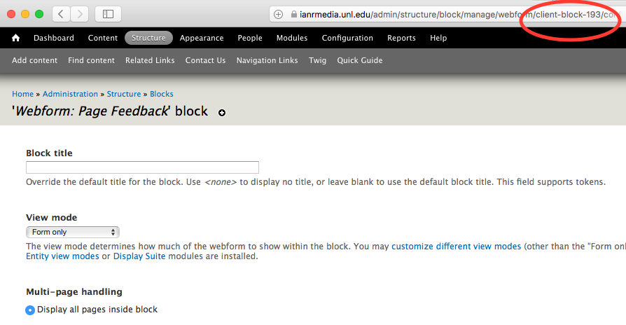 screenshot of webform block url