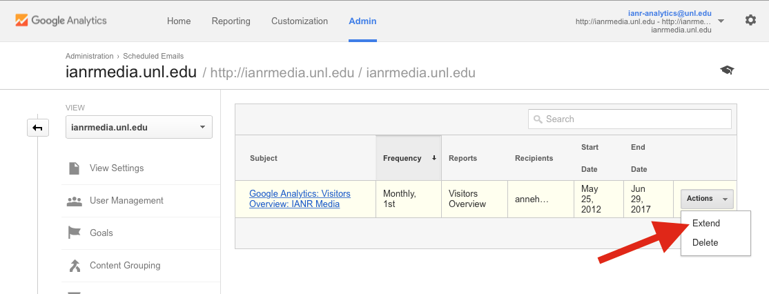 Extend End Date of Google Analytics Email Report Screenshot