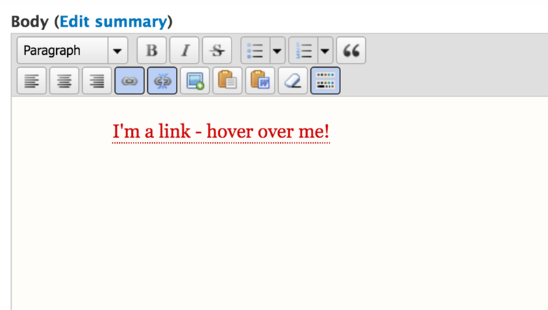 Create your link in the WYSIWYG editor in UNLcms