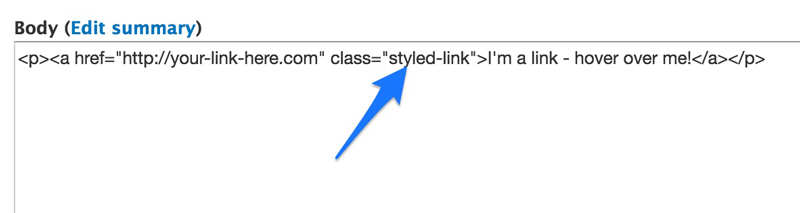 Add a class to your link in the HTML editor