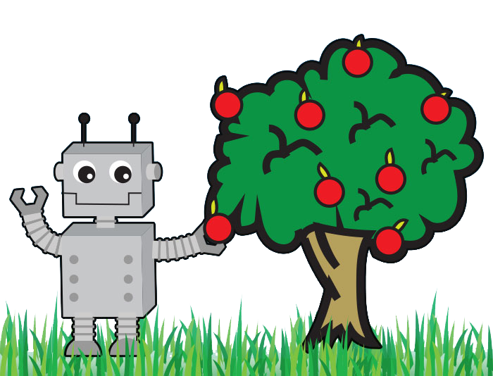 robot picking low hanging apple off tree