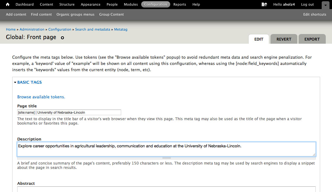 screenshot of global front page add meta tags page